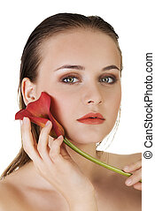 beau, parfait, femme, beauté, bodyn, concept., skin., portrait., propre, frais, modèle, girl, soin