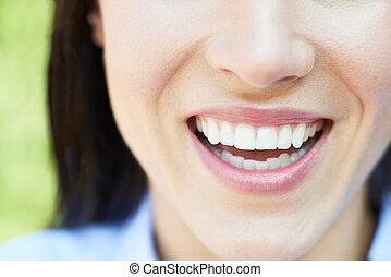 beau, parfait, femme, dents, haut fin, sourire