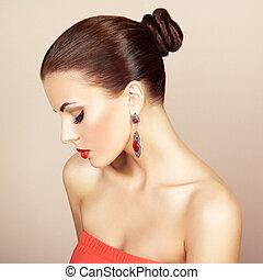beau, parfait, femme, earring., photo, makeup., mode,...