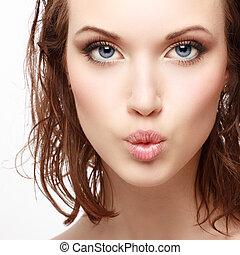 beau, parfait, femme, magnifique, jeune, closeup, peau, portrait