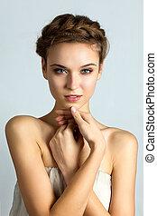 beau, parfait, femme, sain, spa, jeune, peau, portrait