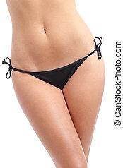 beau, parfait, fitness, femme, hanches, porter, bikini