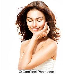 beau, parfait, isolé, jeune, white., femme, peau, portrait
