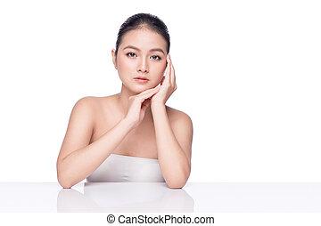 beau, parfait, spa, asiatique, propre, peau, frais, modèle, girl