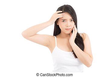 beau, parfait, zit, femme, acné, beauté, figure, wellness, concept., healthcare, isolé, traitement, asiatique, fond, peau, portrait, girl, blanc, problème