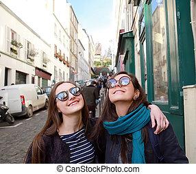beau, paris, filles, rue, étudiant, heureux