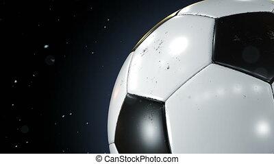 beau, particules, uhd, fait boucle, tourner, 4k, football, mouvement, gros plan, balle, flying., tourner, lent, noir, ball., poussière, football, animation, 3840x2160., 3d