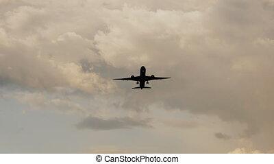 beau, passager, fermé, sky., très, prendre, contre, clouds., coucher soleil, fond, avion