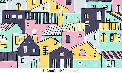 beau, pastel, main, maisons, village, dessiné, paysage