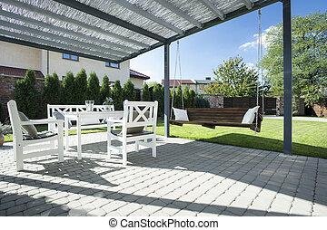 beau, patio, balançoire