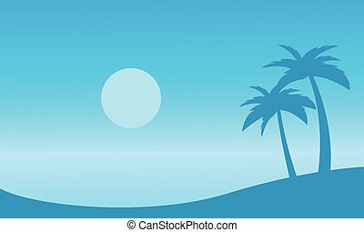 beau, paume, silhouettes, plage, paysage