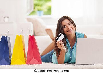 beau, payant, achats femme, crédit, maison, carte
