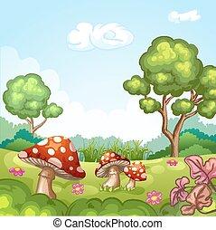 beau, paysage, à, champignons