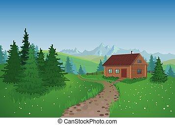 beau, paysage, à, maison