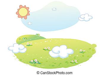 beau, paysage, été
