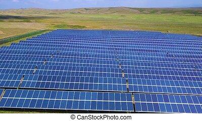 beau, paysage, aérien, énergie solaire, campagne, vue ...
