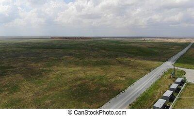 beau, paysage., aérien, 4k, steppe, vue
