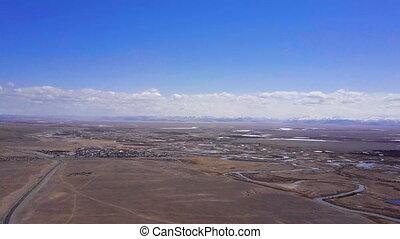 beau, paysage., aérien, sommet, siberia., altai, enquête,...