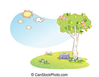 beau, paysage, arbres