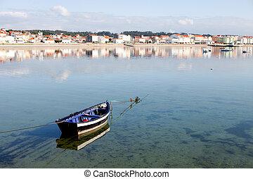 beau, paysage, côtier, espagne, village
