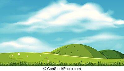 beau, paysage, collines