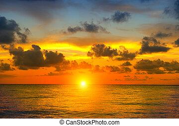 beau, paysage., concept, ciel, voyage vacances, coucher soleil, fond, plage