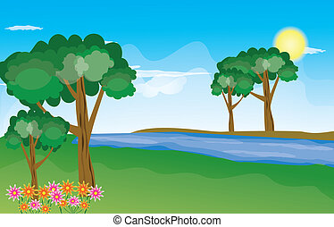 beau, paysage, fond