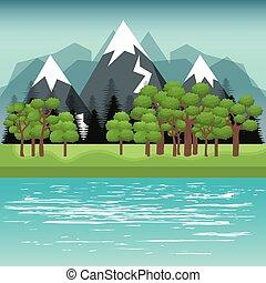 beau, paysage, fond, icône