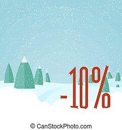 beau, paysage, hiver, plat, -, vente, illustration, année, forêt, vecteur, nouveau