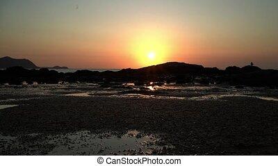 beau, paysage, lumière, timelapse, eau, coucher soleil, 4k, fond, thaïlande, réflexe, ou, levers de soleil