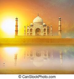 beau, paysage., mahal, reflet, palais, inde, uttar, river., merveilleux, pradesh., agra, taj, sunset.