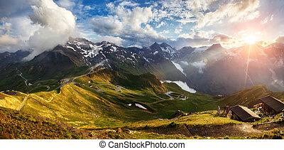beau, paysage montagne