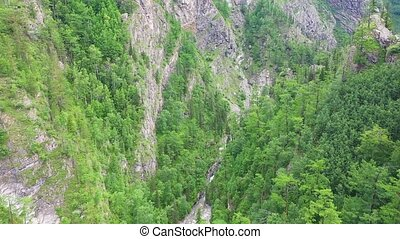 beau, paysage., oeil, montagne, présentation, sur, voler, oiseau, bourdon, rivière, vue