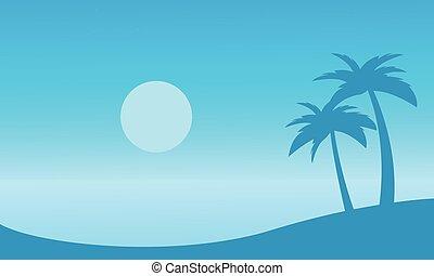 beau, paysage, plage, à, paume, silhouettes