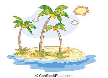 beau, paysage, plage, dessin animé