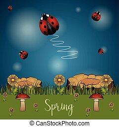 beau, paysage, printemps, dessin animé