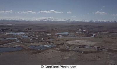 beau, paysage., région montagneuse, vol, sommet, siberia.,...