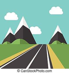 beau, paysage, route