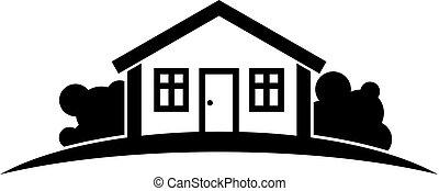 beau, paysage., usage, graphique, campagne, simple, maison, résumé, symbole., ligne., idée, vecteur, conception, horizon, village, noir, blanc, constitué, mieux