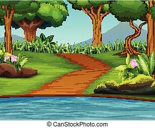beau, paysage vert, fond, nature