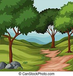 beau, paysage vert, nature