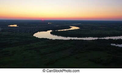 beau, paysage, vol, sur, uav, coucher soleil, rivière