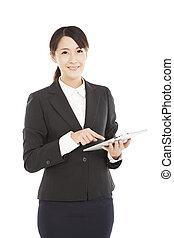 beau, pc, femme, tablette, business