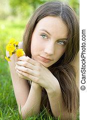 beau, pelouse, adolescent, jeune, pissenlit