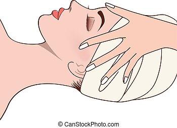 beau, pendant, femme, massage facial