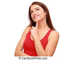 beau, pensée, étudiant, girl, recherche, à, doigt, à, figure, isolé, blanc