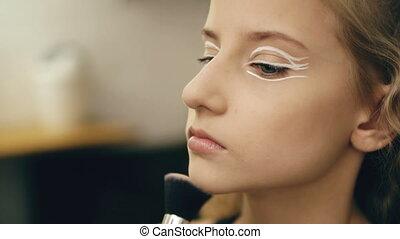 beau, perfomance, artiste, maquillage, jeune, actrice, figure, intérieur, danse, maquillage, girl, marques, avant