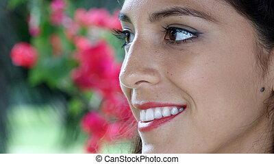 beau, personne, face souriant