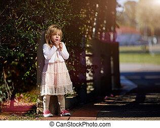 beau, petite fille, dans, a, robe, sur, jour ensoleillé, à, fleurs, dans, les, main, contre, les, buissons verts