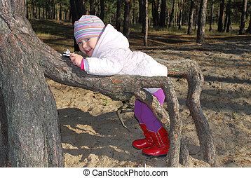beau, petite fille, jouer, dans, les, racines, de, a, arbre.